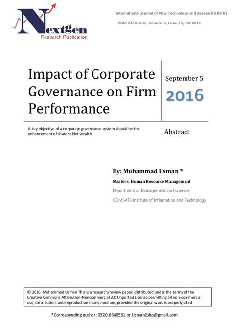 Impact Of An Mba On Salary by Impact Of Corporate Governance On Firm Performance Published