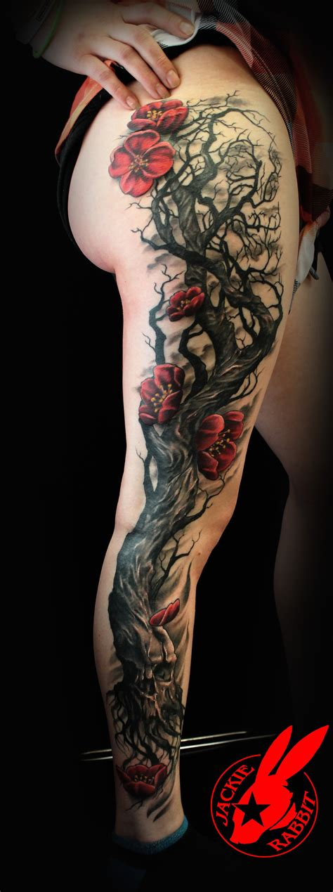 skull tree tattoo skull tree cherry blossom by jackie rabbit by