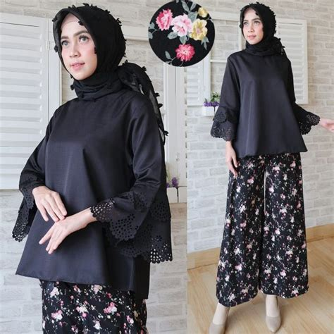 Setelan Atasan Wanita Blouse Baju Celana Kulot Motif Vista5 Set Xl baju setelan kasual kulot cs021 busana wanita santai terbaru