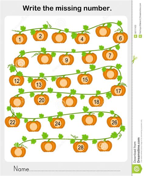 The Missing write the missing number worksheet for education stock vector image 58117433