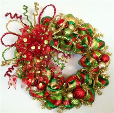 christmas wreath lighted whimsical whimsical green gold lime green striped by theredhenhouse 85 00 decorations