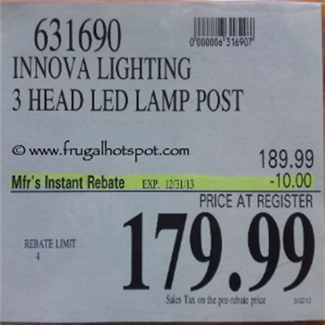 innova lighting 3 led l post costco sale innova lighting led 3 light outdoor l post