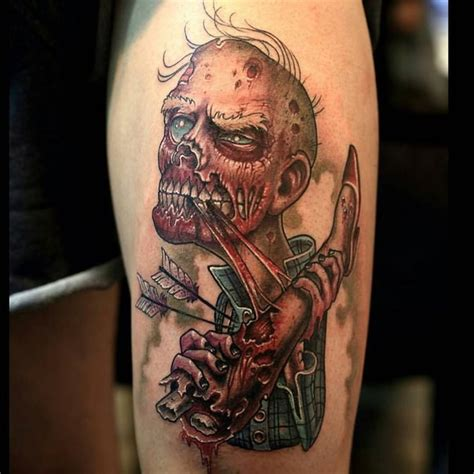 zombie tattoo on leg by graynd tattooimages biz illustrative style colored arm tattoo of zombie with human