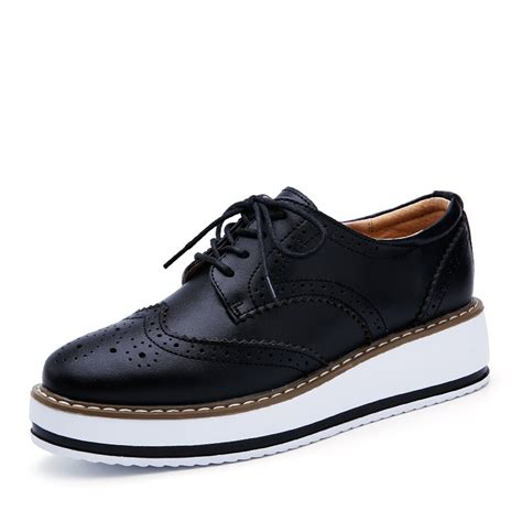 Pointed Brogue Oxfords מוצר o16u platform oxfords brogue flats shoes