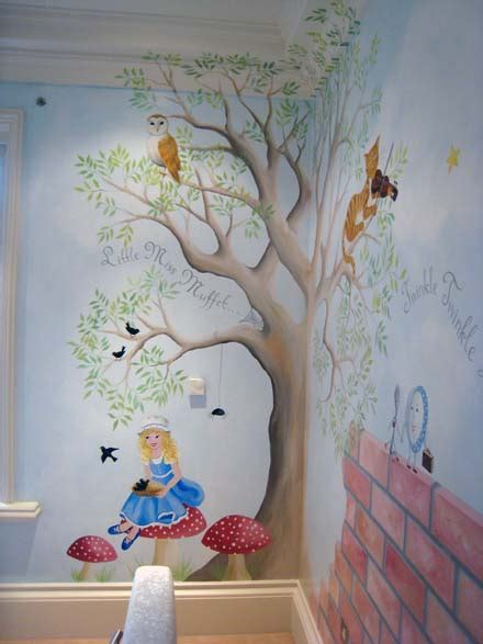 once upon a time themed bedroom nursery rhyme mural painted in a nursery in oxshott
