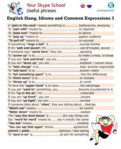 Idioms And Slangs notesbenjamin slang idioms and common expressions