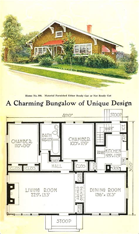 small craftsman bungalow house plans 1918 gordon tine no 580 craftsman style bungalow