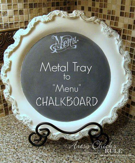 metal tray repurposed  chalk paint menu