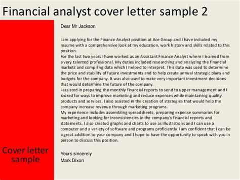 cover letter for financial analyst financial analyst cover letter