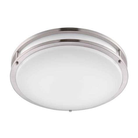 flush mount light hton bay brushed nickel led flushmount dc016leda