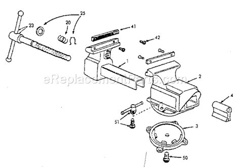 parts of a bench vice craftsman 51871 parts list and diagram ereplacementparts com
