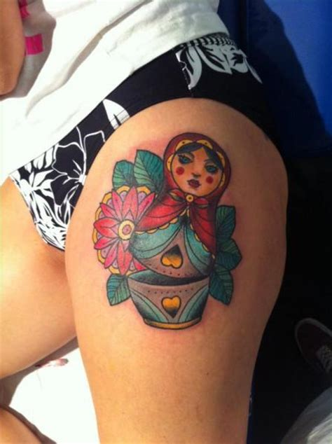 new matryoshka thigh tattoo by la mano zurda