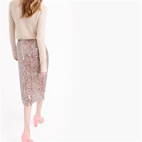 j crew collection starry sequin pencil skirt in pink lyst