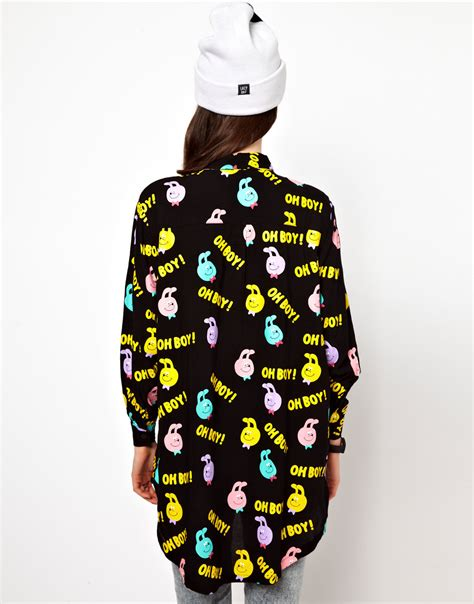 Hoodie Oh Boy Zc lyst lazy oaf oh boy shirt in black