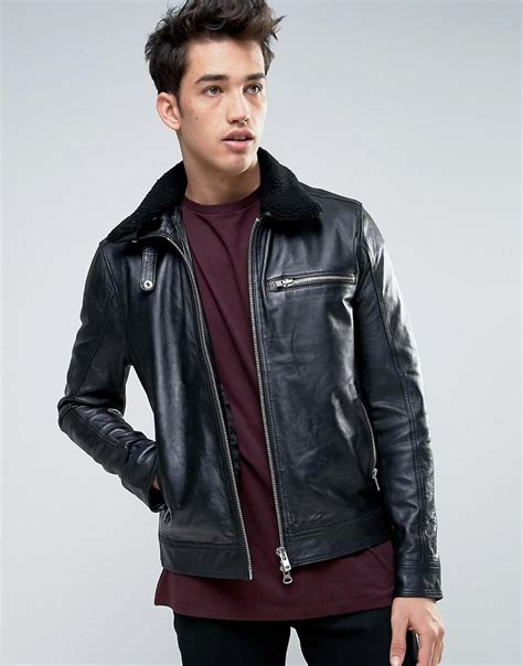 barneys s leather jacket barneys originals barneys leather jacket with sherpa collar in black for lyst