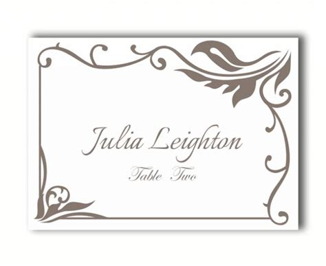 Diy Wedding Name Card Template by Place Cards Wedding Place Card Template Diy Editable