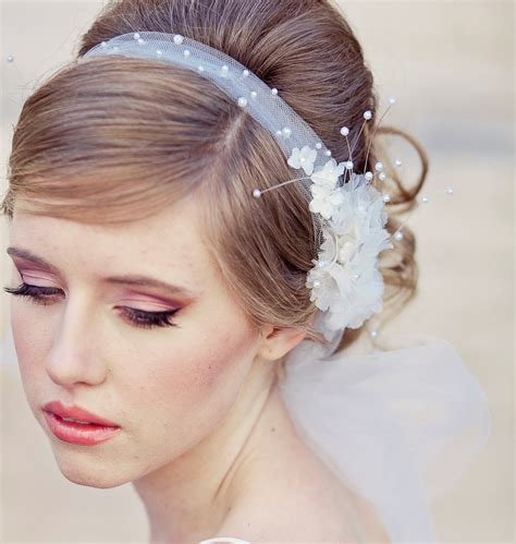 wedding hair net veil uk wedding veil tie headband of net and vintage flowers wedding