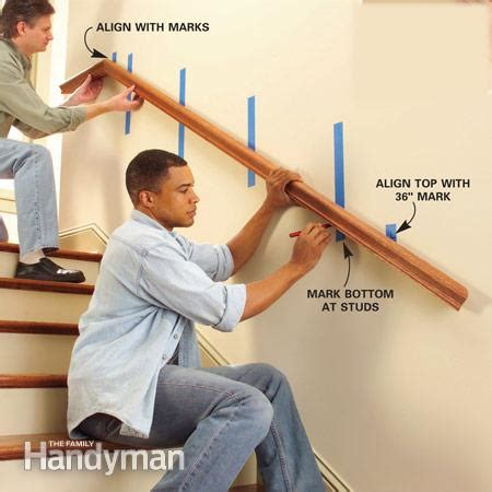 how to install a banister install a new stair handrail the family handyman