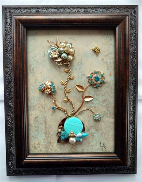 home interiors and gifts framed art vintage framed jewelry art home decor family heirloom art