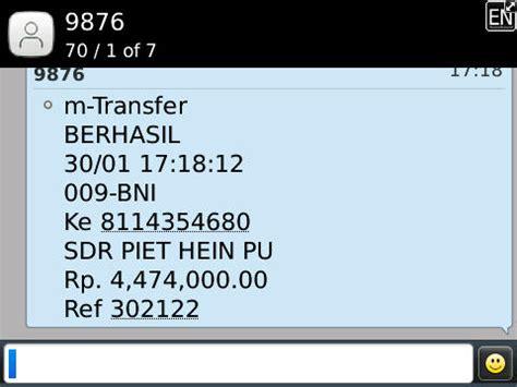 bca sms banking laporan penyaluran donasi manado 30 januari 2014