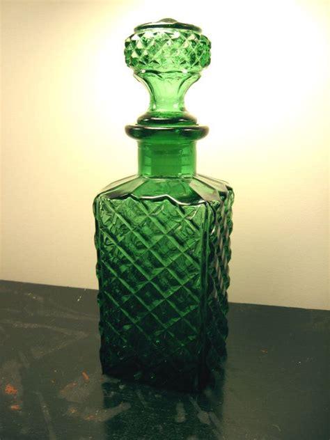 vintage emerald green glass decanter diamond pattern