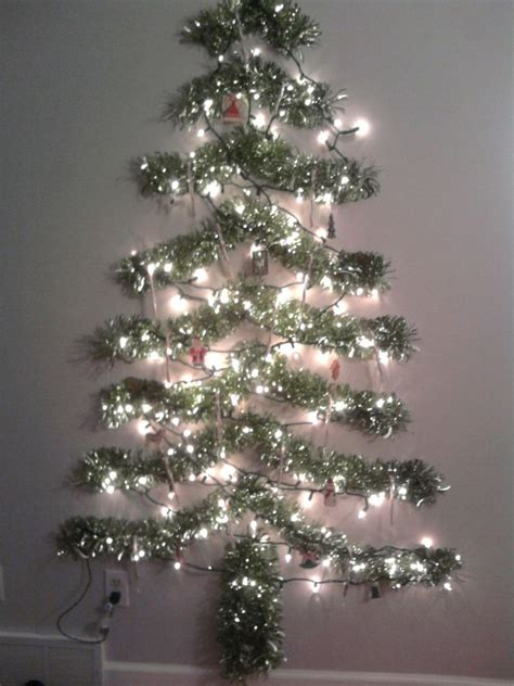 used string tinsel ideas alternative tree for a small space items used 12 tinsel garland cut into