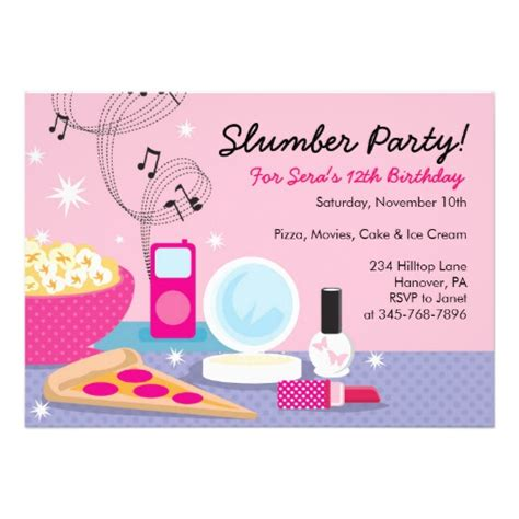 slumber party birthday invitations 5 quot x 7 quot invitation card