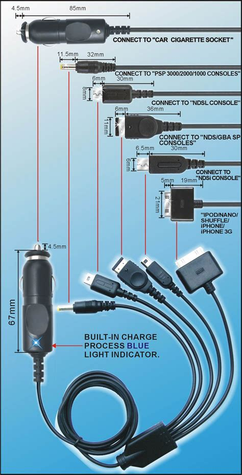 Psp Usb Car Charger 11in1 usb charger cable for ds dsi ds lite sp psp iphone