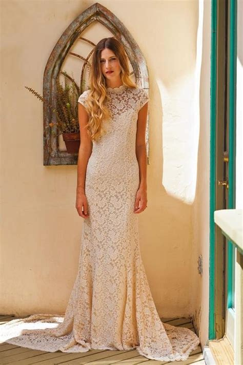 simple elegant lace wedding dress  cap sleeve