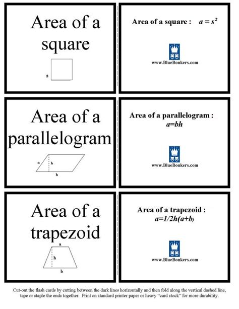 quadrilateral flashcards printable bluebonkers free printable geometric formula flash cards
