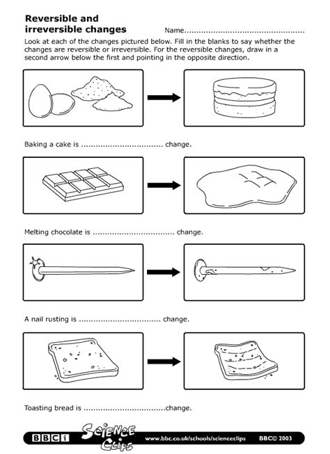 Physical Changes Of Matter Worksheets by Schools Science Reversible And Irreversible