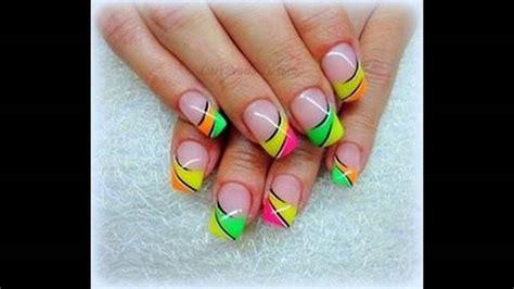imagenes de uñas pintadas de tres colores u 241 as decoradas con colores fosforescentes youtube