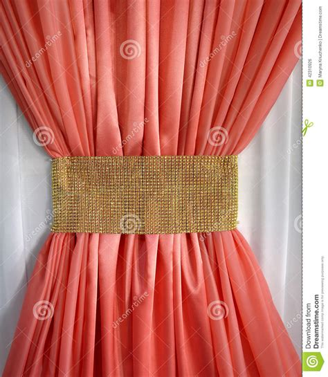 Bow Window Curtains coral curtain ruffled gold belt stock photo image 42310926
