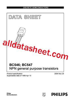 bc547 npn transistor data sheet bc547 datasheet pdf nxp semiconductors