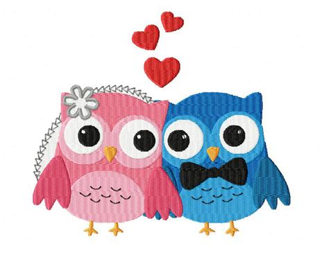 owl lover owls in love machine embroidery design