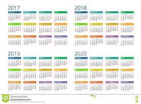 Calendar for 2017 2018 2019 2020 week starts sunday simple vector