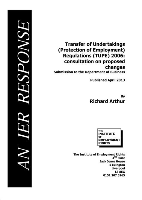 Response to Transfer of Undertakings (Protection of