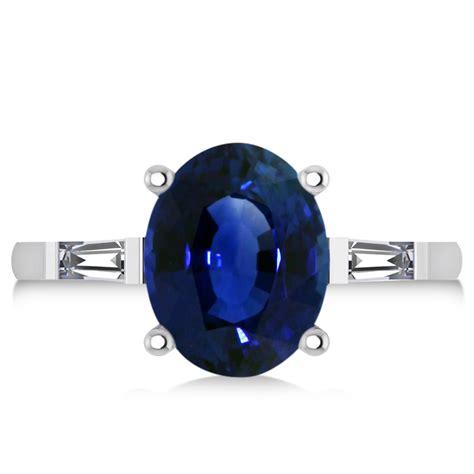 Blue Sapphire 8 30ct oval baguette cut blue sapphire engagement ring 14k