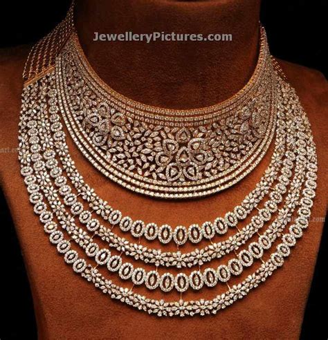 home design diamonds necklaces designs in choker and necklace style