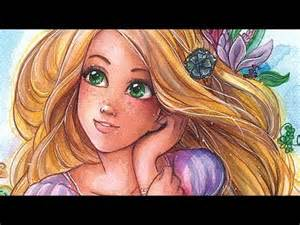 rapunzel watercolor and copic markers drawing youtube