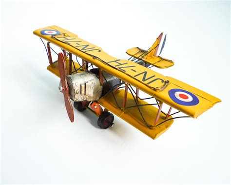 Bag Vase Vintage Retro Biplane Model Metal Aircraft Wwi Yellow Small
