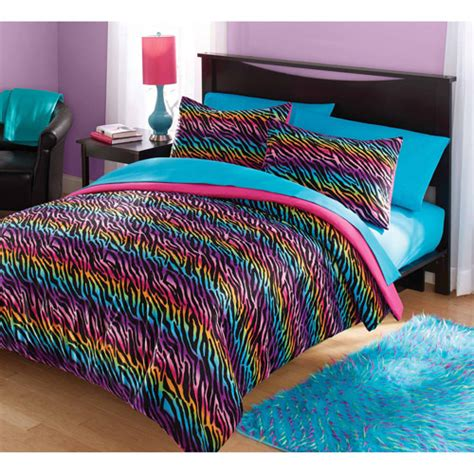 rainbow bedding your zone mink rainbow zebra bedding comforter set walmart com