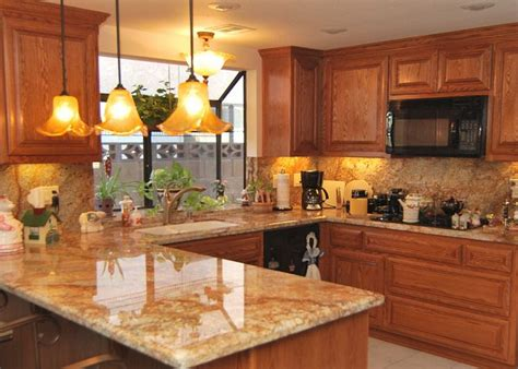 Honey Oak Cabinets What Color Granite by Granite To Match Oak Cabinets Brown Painted Kitchen