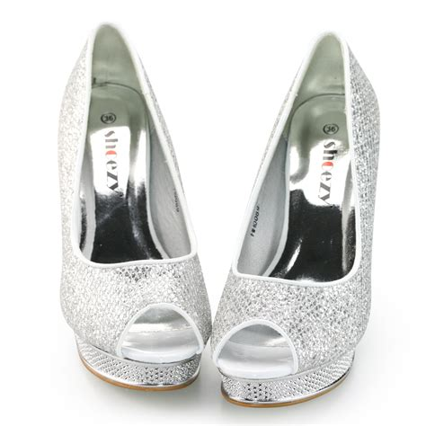 shoezy womens silver and black glitter open toes platform