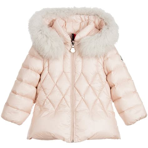 Coat Baby Pink moncler baby pink padded coat with fur trim childrensalon