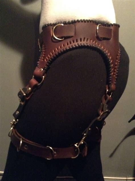 brown leather steunk garter belt