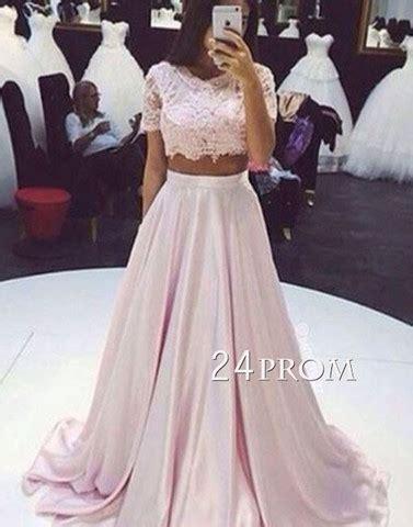 Custom made 2 pieces pink chiffon lace long prom dress