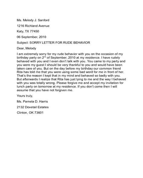 Apology Letter Rude Behavior sorry letter for rude behavior sle edit fill sign