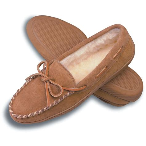 moccasins house shoes women s minnetonka moccasins pile lined hardsole indoor outdoor slipper tan 95309