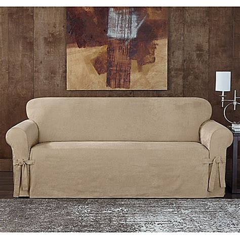 sure fit slipcovers bed bath beyond sure fit 174 designer sueded twill sofa slipcover bed bath
